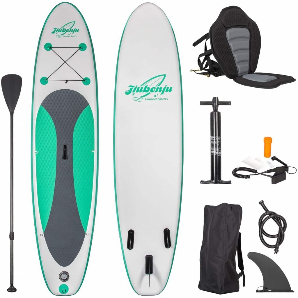 Jiubenju All Around Inflatable Stand Up Paddle Board with Kayak Seat